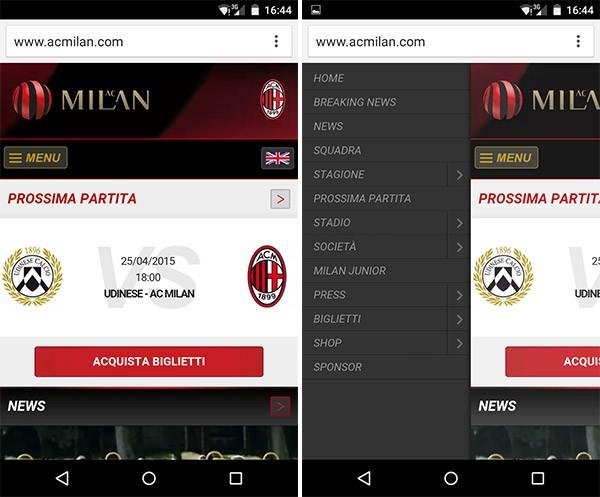La versione mobile del sito ufficiale AC Milan