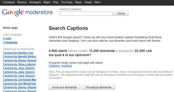Screenshot per l'interfaccia di Google Moderator