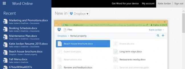 Office Online integrazione con Dropbox