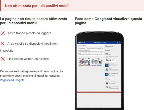 Test di compatibilità con dispositivi mobili: www.parlamento.it