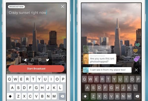 Screenshot per l'interfaccia di Periscope su iPhone