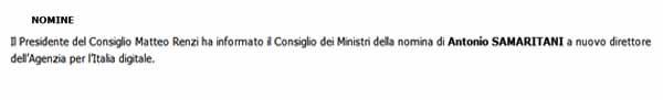 La concisa notizia sulla nomina di Samaritani nel resoconto dell'ultimo Consiglio dei Ministri, il n.62 del 29 aprile.