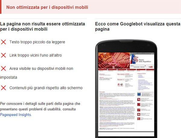 Test di compatibilità con dispositivi mobili: www.senato.it