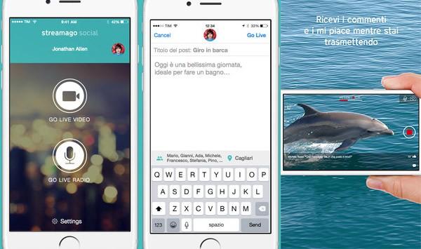 Screenshot per l'interfaccia di Streamago Social su iPhone