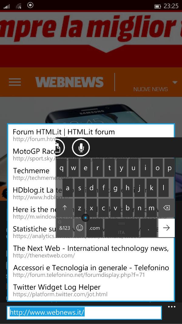 Windows 10 per smartphone: tastiera per phablet