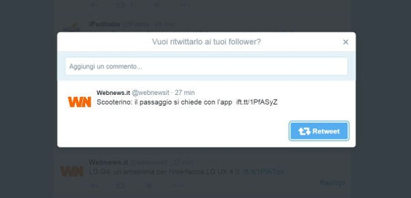 Twitter: retweet con commento