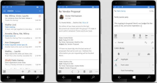 Windows 10 per smartphone, app Posta
