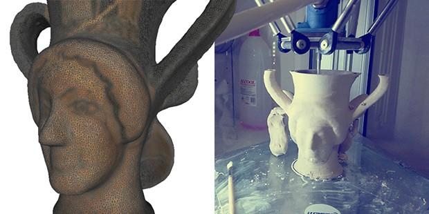 Kantharos attico a doppia protome di Sileno e Menade: originale e stampa 3D