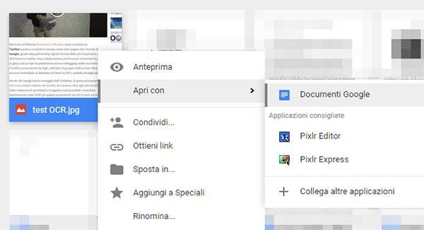 Con Google Drive, per convertire un'immagine in documento testuale sono sufficienti pochi click