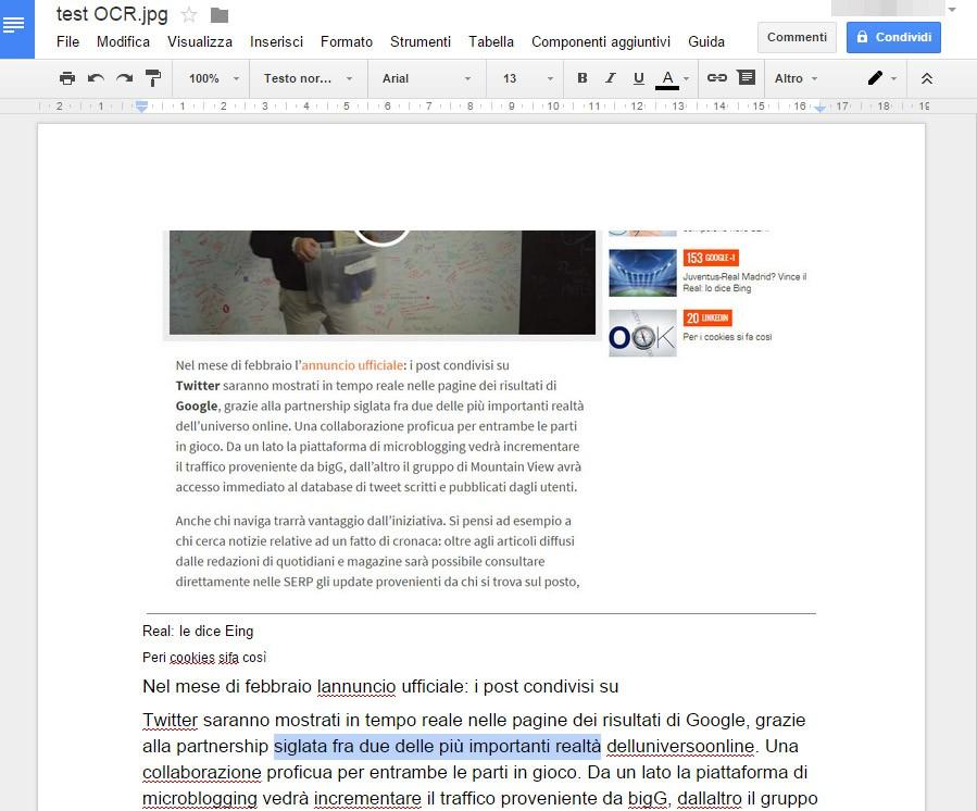 Il documento generato dalla tecnologia OCR di Google partendo da un'immagine