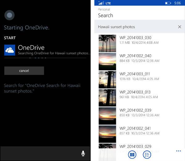 Cortana in OneDrive