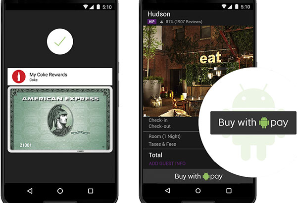 La tecnologia Android Pay integrata in un'app su Nexus 6