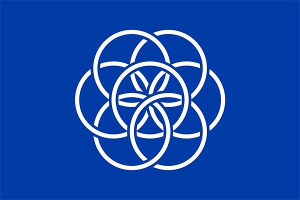 La bandiera disegnata da Oskar Pernefeldt e proposta come vessillo del Pianeta Terra