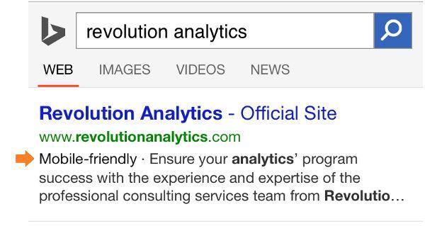 Bing evidenzia i siti mobile friendly