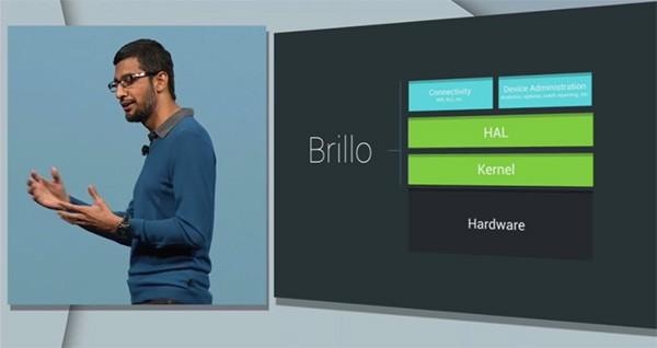 Sunder Pichai presenta il progetto Brillo dal palco dell'evento Google I/O 2015