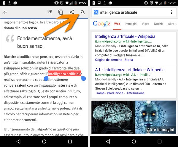La funzionalità Touch to Search introdotta da Google nella versione 43 del browser Chrome per Android