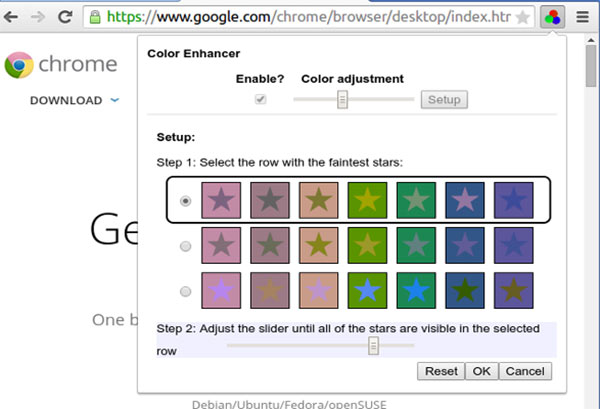 Screenshot per l'estensione Color Enhancer disponibile sul browser Google Chrome