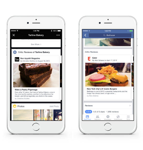Facebook, le recensioni sui ristoranti
