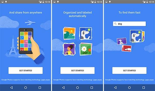 Le schermate che introducono all'utilizzo della nuova app Google Foto