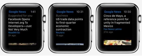 L'applicazione Notizie e Metro di Google su Apple Watch