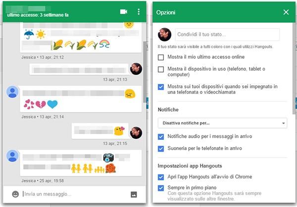 Screenshot per la nuova applicazione Chrome dedicata ad Hangouts, con interfaccia in stile Material Design
