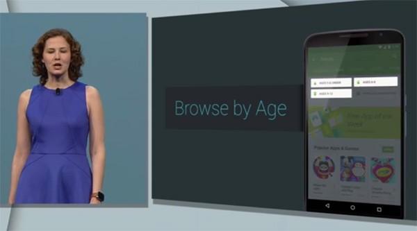 Le applicazioni e i giochi di Play Store saranno elencati all'interno di categorie in base all'età