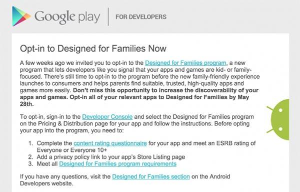 """Google anticipa l'arrivo di una versione del Play Store """"Designed for Families"""""""