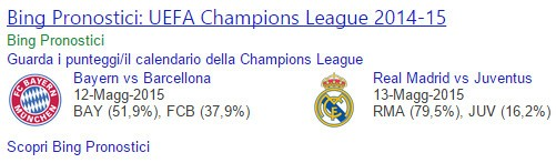 Pronostico Bing, semifinali di Champions League