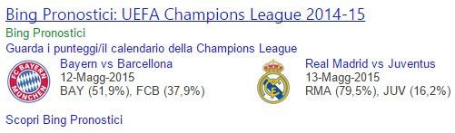Pronostico Bing, semifinali di Champions League