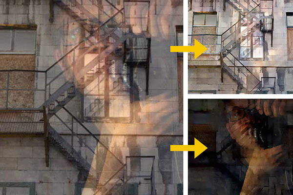 I risultati ottenuti con l'impiego dell'algoritmo del MIT, che separa l'immagine fotografata dal riflesso del vetro