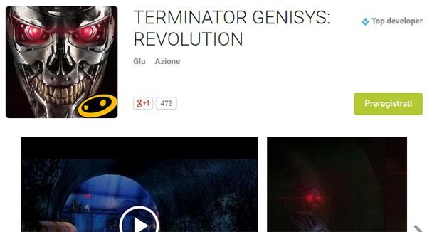 La scheda di Terminator Genisys: Revolution con il pulsante per la preregistrazione