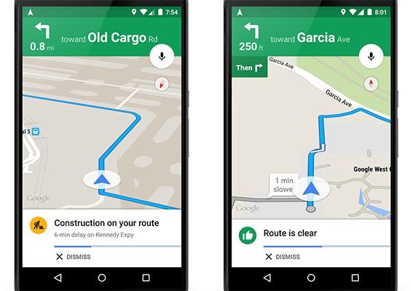 Nuovi avvisi sul traffico dall'applicazione Android di Google Maps