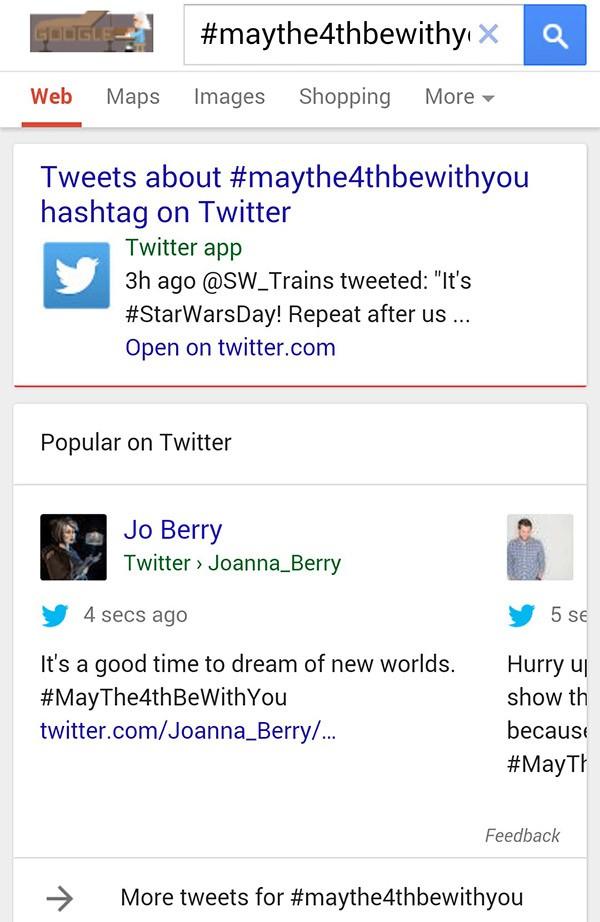 I post di Twitter mostrati nelle pagine dei risultati di Google, su dispositivi mobile