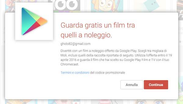 L'attivazione dell'offerta per ottenere un film a noleggio gratis