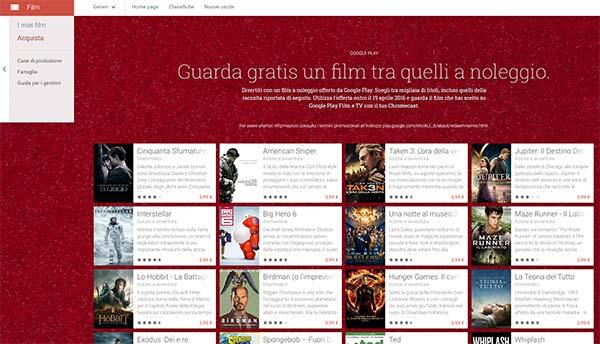 Il catalogo dei film che è possibile noleggiare gratuitamente