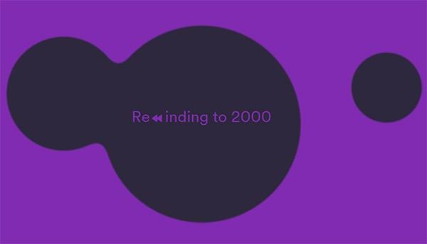 L'animazione che introduce la playlist di Spotify Rewind dedicata agli anni '00