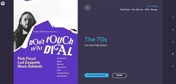La copertina della playlist di Spotify Rewind dedicata agli anni '70