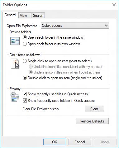 Opzioni Quick Access