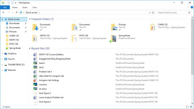 Quick Access in Windows 10