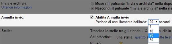 """Le opzioni di Gmail relative al pulsante """"Annulla"""""""