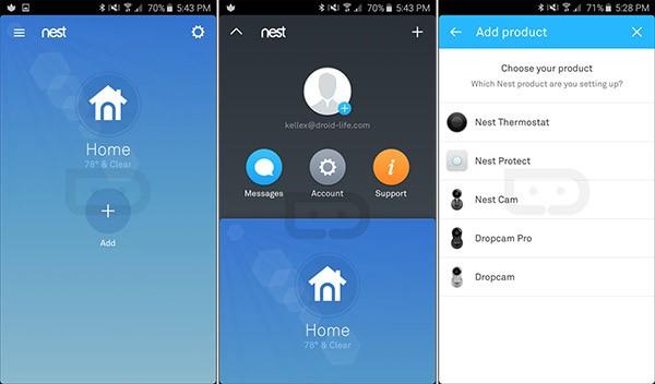 La nuova versione dell'applicazione Nest per Android, con supporto alla videocamera