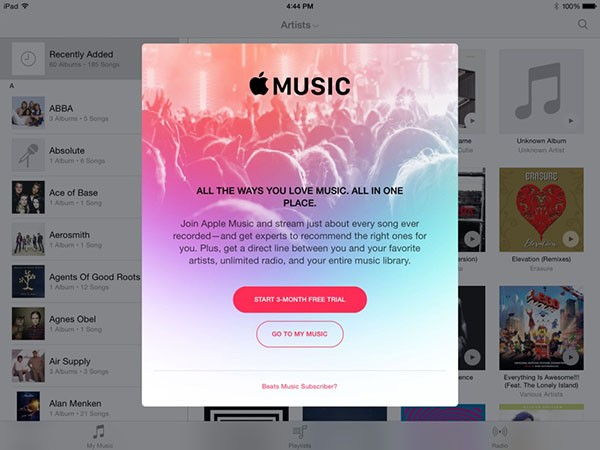 Popup di Apple Music