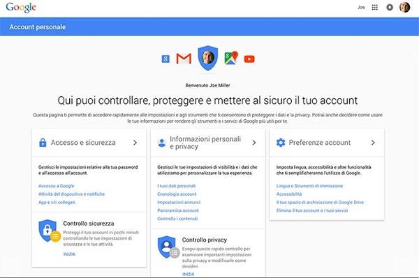 La schermata principale di Google account personale