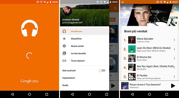 La versione 6.0 dell'applicazione Google Play Musica su smartphone Android