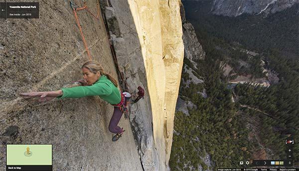 La scalata di Lynn Hill su El Capitan, immortalata nell'archivio di Street View