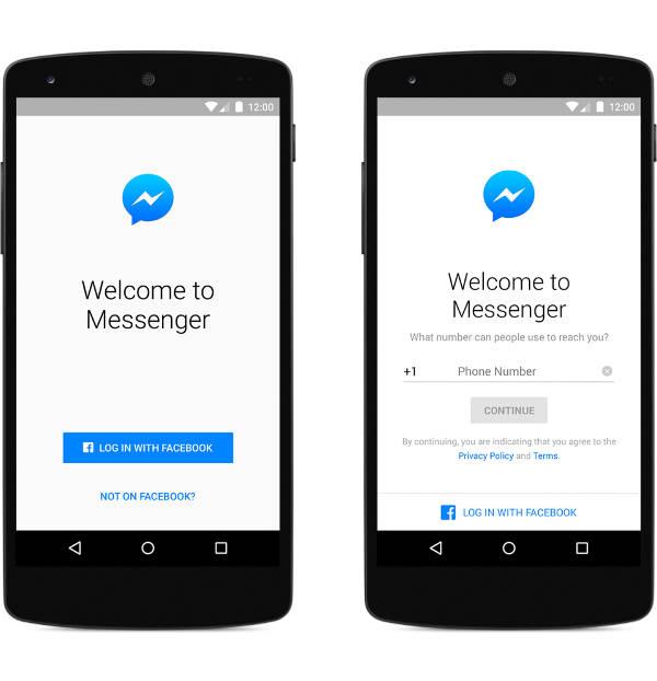 Facebook Messenger, accesso tramite numero di telefono