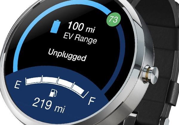 L'applicazione MyFord in esecuzione sullo smartwatch Motorola Moto 360 con Android Wear