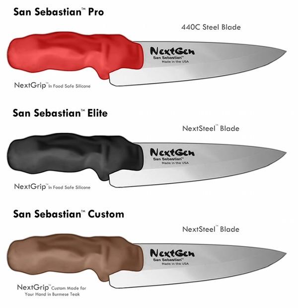 Le varie edizioni del coltello da chef con impugnatura stampata in 3D, proposto in crowd funding dall'azienda NextGen