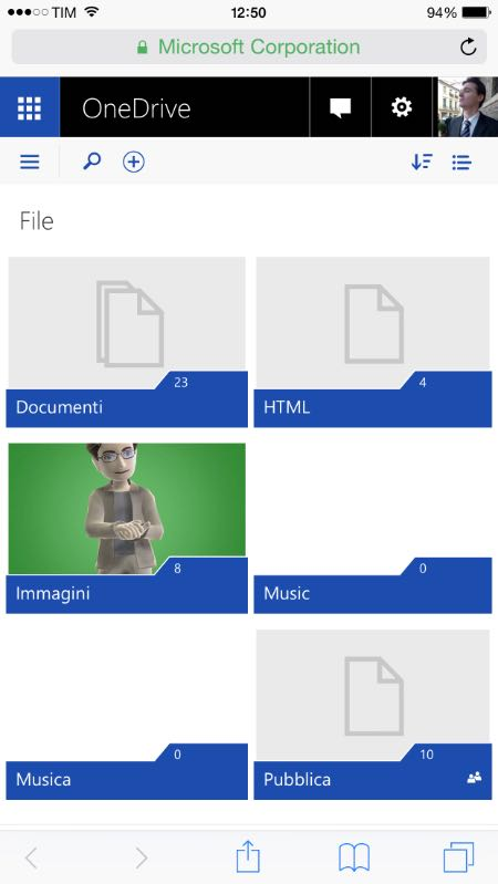 Nuovo OneDrive web su iOS