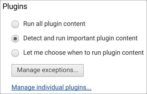 Le nuova impostazioni di Chrome per l'esecuzione dei plugin all'interno del browser